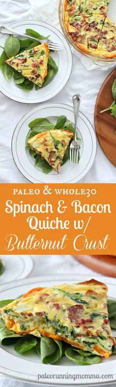 Spinach and Bacon Quiche with Butternut Squash