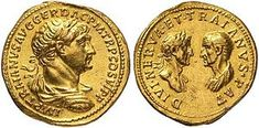 Roman aureus struck under Trajan, c. 115. The reverse commemorates both Trajan's natural father, Marcus Ulpius Traianus (right) and his adoptive father, the Deified Nerva (left).
