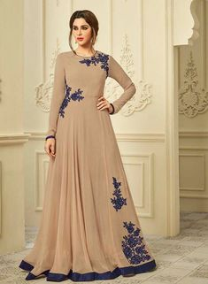 45988c0d609 Latest Designer Stylish Beige Color Look Wedding Wear Gowns Collection Rs.1099  Designer Salwar Suits