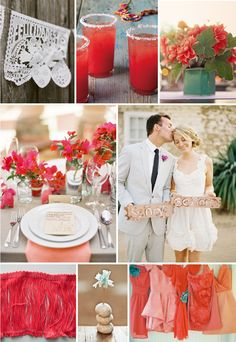 Coral, Cactus and a splash of sea blue. Bright colors for a Spring or Summer wedding.