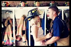 engagement photo -- so cute I guess Tommy and I can take pictures on a construction site and in a classroom? Firefighter Engagement Pictures, Themed Engagement Photos, Engagement Couple, Engagement Photography, Fireman Wedding, Firefighter Wedding, Firefighter Love, Engagement Photo Inspiration, Photoshoot Inspiration