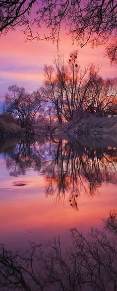 purple + pink SUNSET at River Odra, Czech Republic #by Jan Bainar