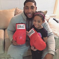 Fighters: The Cincinnati Bengal player pictured with his daughter in a photo posted to Instagram a month ago