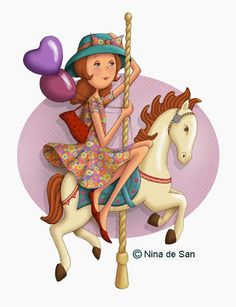 Nina de San--------- A aide on the merry go around Marquis, Creation Photo, Holly Hobbie, Carousel Horses, Animation, Amusement Park, Love And Light, Cute Art, Paper Dolls