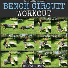Outdoor Bench Circuit Workout - dietandskinhelp.org - Workouts, recipes, motivation, tips, and advice all right to your inbox! Subscribe to Tone-and-Tighten.com using the redbar up at the top of the page.  So there I was at the park the other day with my kiddos. They were having a blast, I hadn't gotten in a workout yet, and the rest of the day was looking pretty packed. Being one who always tries to capitalize on an opportunity, I turned my bench into a gym and cam