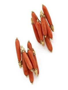 A PAIR OF CORAL AND YELLOW GOLD EAR CLIPS BY STERLE. CIRCA 1960
