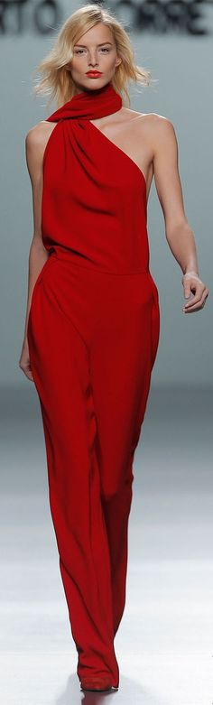 Roberto Torretta Red Off The Shoulder Jumpsuit Pantsuit #UNIQUE_WOMENS_FASHION