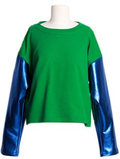 Metallic Sleeves Bicolor Top (2 Colors) | Fall & Winter | Dolly & Molly | www.dollymolly.com | #green #blue #sea #shiny #fw #fashionweek #snap #japanese #fashion #daily #ootd #lookbook #top #circus #colorful