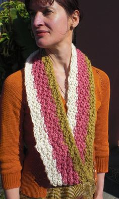 Sunset Stripe Hand Knit  Pink Gold and White Striped hand knit Infinity Mobius Scarf. $42.00, via Etsy.