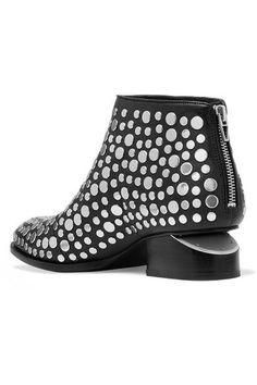Alexander Wang - Kori Cutout Studded Leather Ankle Boots - Black - IT40.5
