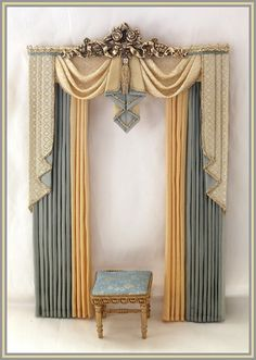 how to make swags and tails dolls house curtains Custom Drapes, Curtain Decor, Doll House Curtains, Curtains, Swags And Tails, Silk Curtains, Victorian Curtains, Home Curtains, Curtain Designs