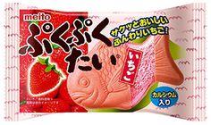 "Meito ""Puku Puku Tai, Chocolate or Strawberry"", Taiyaki Shaped Monaka, 17g, ¥128"