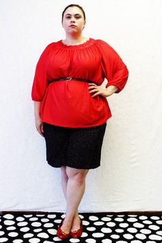 Plus Size - Vintage Red Knit Crochet Neck Tunic Blouse by TheCurvyElle, $20.00