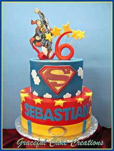 Supergirl - Superman Birthday Party Ideas - Birthday Party Ideas for Kids and Adults Girl Birthday Themes, 6th Birthday Parties, Boy Birthday, Birthday Ideas, Birthday Cakes, Bolo Super Man, Superman Birthday Party, Superman Cakes, Fondant