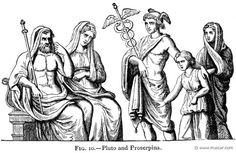 Hermes Psychopompos brings a soul before Hades and Persephone.  Alexander S. Murray, Manual of Mythology (1898)