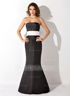 Trumpet/Mermaid Strapless Floor-Length Taffeta Bridesmaid Dress With Sash (007004268)