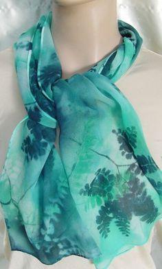 613830fdd49c Jade Maidenhair silk chiffon scarf Hand Painted  60