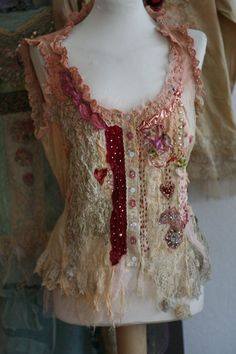 Two of hearts  -unique shabby chic bodice, textile collage with antique lace, beading, altered bodice, wearable art: