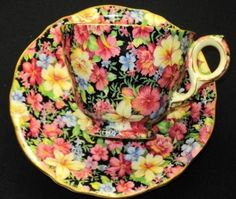 ROYAL WINTON FLORENCE PINK YELLOW BLUE BLACK CHINTZ TEA CUP AND SAUCER