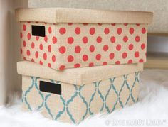 Don't let boring storage drag down your carefully styled space. Stencil an easy-does-it design on a plain burlap box, and you're good to stow.