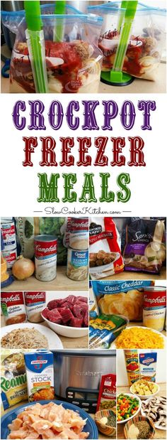 Kids Meals Crock Pot Freezer Meals - If you're looking for an EPIC crockpot freezer meals cooking session. 1 afternoon, 2 people, 8 recipes and you get 110 freezer meals. Slow Cooker Kitchen, Slow Cooker Freezer Meals, Make Ahead Freezer Meals, Crock Pot Freezer, Slow Cooker Recipes, Crockpot Recipes, Cooking Recipes, Dishes Recipes, Freezer Cooking