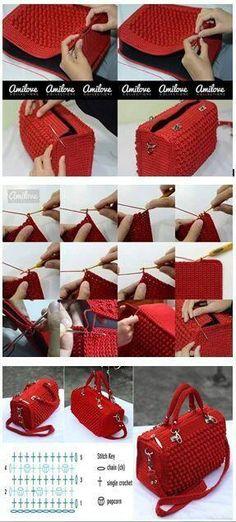 Bobble Stitch Handbag Crochet Pattern with Video Tutorial Crochet Handbags, Crochet Purses, Crochet Designs, Crochet Patterns, Crochet Baby, Knit Crochet, Crochet Gifts, Crochet Backpack, Bag Pattern Free