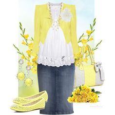 Love this springy casual outfit but without the jewelry ♥ needs to have a longer skirt and is beautiful.
