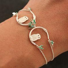 Midnight owl silver and green onyx bracelet by amanda coleman Pinned by www.myowlbarn.com