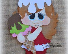 Ice cream girl Premade Scrapbooking adorno papel Piecing