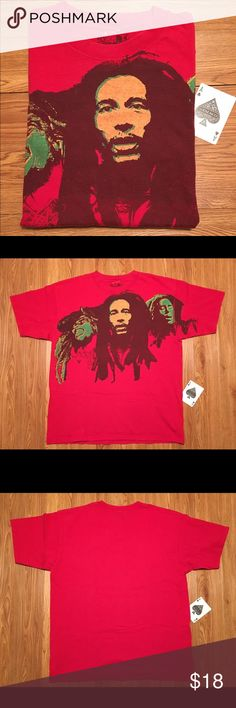 Bob Marley Graphic Tee Red Large EUC Awesome Tee Featuring The Icon Bob Marley Red Size Large In Excellent Used Condition-No Tears Or Stains. a.v.e.l.a. Shirts Tees - Short Sleeve
