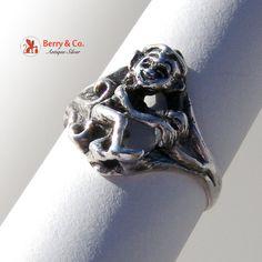 Vintage Sterling Silver Leprechaun Figural Ring by BerrysGems, $25.00