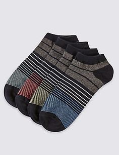 4 Pairs of Freshfeet™ Cotton Rich Striped Socks with Silver Technology