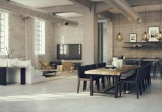 3 Loft Layout of Awesome Industrial Lofts Ideas from House Tours.  I like the brick and gray walls, concrete floor.