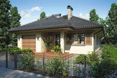 Небольшой одноэтажный дом с террасой на 163 м2. Размеры дома: 10 Х 17 м. Проект дома с гаражом. Наружная отделка: Декоративная штукатурка. Стоимость проекта дома 37800