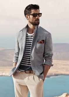 Prince of Wales linen-blend blazer  #SS14 #Menswear