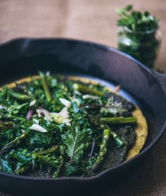 Socca with Pesto, Asparagus, and Kale  (Two adjectives: Easy & Incredible)