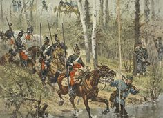 French Lancers being led across a ford by a Mobile watched by Chasseurs a Pied, behind can be seen a group of senior officers.