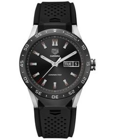 Tag Heuer Connected 1.0 Men's Carrera Black Rubber Strap Smart Watch 46mm SAR8A80.FT6045 - Black