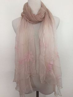 New Authentic Chan Luu Floral Embroidered Scarf Color: Mauve Chalk Combo  | eBay