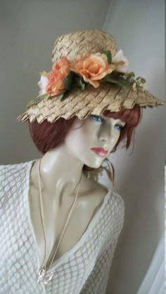 22a7e6dfe53 Vintage 1950s Natural Straw Bucket Hat One by AnotherThymeVintage Silk Roses