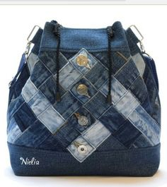 Nielia - bags from jeans \/ Bags, clutches, suitcases \/ Second Street Denim Backpack, Denim Tote Bags, Denim Purse, Patchwork Bags, Quilted Bag, Jean Purses, Recycled Denim, Handmade Bags, Purses And Handbags