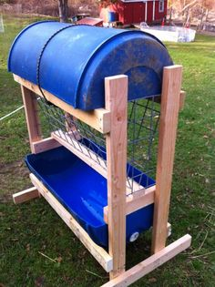 Hay feeder -- would make a larger roof to prevent blowing rain and allow tip till, also design could be converted to a pellet feeder