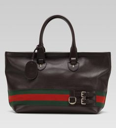 'gucci heritage' large tote with web detail.