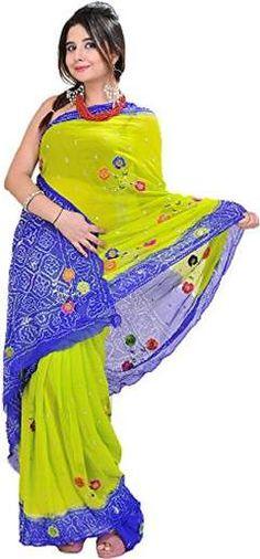 Exotic india parrotgreen and blue bandhani tiedye saree from rajasthan  green