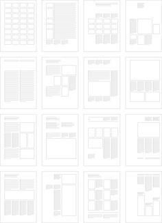 Вариации макетов по модульной сетке из 32 ячеек Йозеф Мюллер-Брокман. «Модульные системы в графическом дизайне»