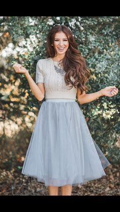 Stitch Fix Holiday fashion. Have your stylist send you the perfect outfit for your holiday party. Silver Tulle skirt and sweater top.