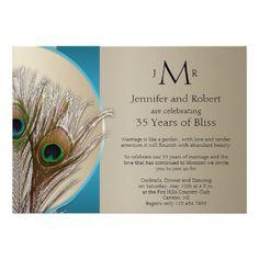 "Modern Taupe Aqua Peacock Wedding Anniversary 5"" X 7"" Invitation Card"