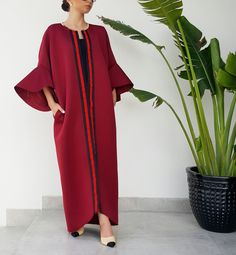 Qabeela Deep Red Sportsluxe 17 Abaya with Metal Detailing