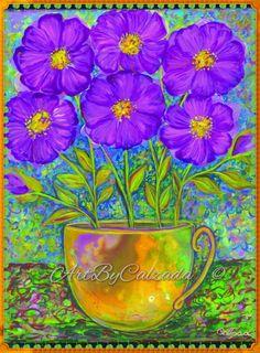 Purple cosmos by ArtByCalzada on Etsy