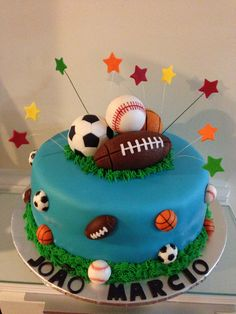 Sport cake Instead of soccer ball hockey stick and puck